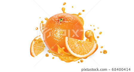 Fresh orange and a splash of fruit juice. 68400414