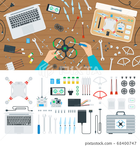 Drone equipment set and quadcopter repair vector illustration in flat design 68400747