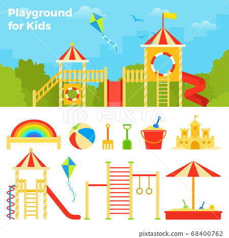 Children's play complex against the backdrop of the cityscape vector icon flat isolated illustration 68400762