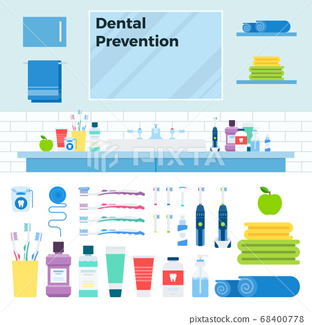 Image with dental prevention kit in the bathroom vector illustration in a flat design. 68400778