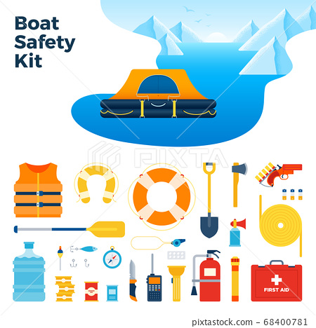 Image from inflatable floating tent and boat safety kit vector illustration in a flat design. 68400781