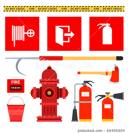Set of firefighting equipment. Vector flat illustrations. Fire protection equipment. 68400804