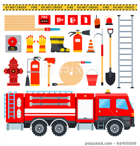 Set of Firefighter icons flat vector 68400806