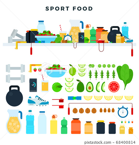 Set vector icons sport food in flat design. Concept healthy and athletic lifestyle. 68400814