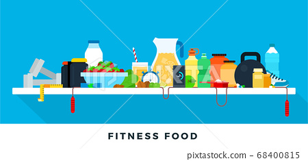 Fitness food concept healthy lifestyle. Vector flat illustrations. Healthy and athletic lifestyle. 68400815
