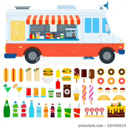 Set of Food truck and Coffee icons flat vector 68400829