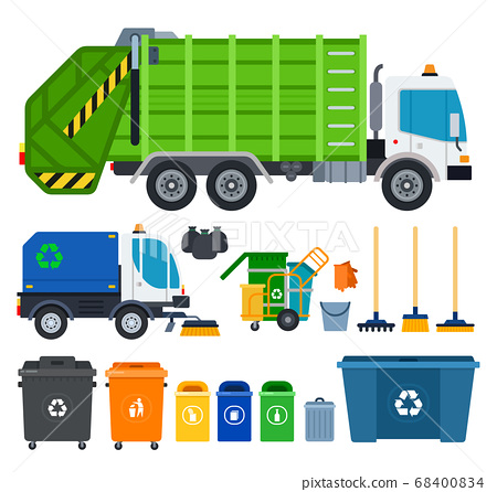 Set of Garbage truck icons flat vector 68400834