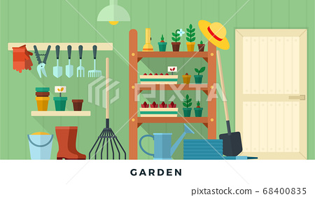 Garden pantry room with tools. Vector flat illustrations. Concept of gardening. 68400835