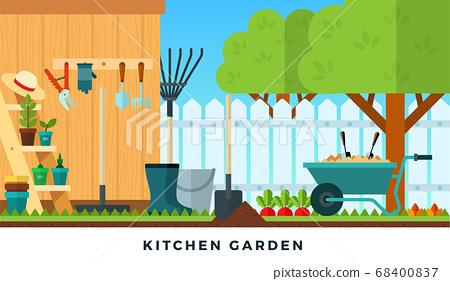 Colorful vector flat illustration of kitchen garden. Tools for gardening. 68400837