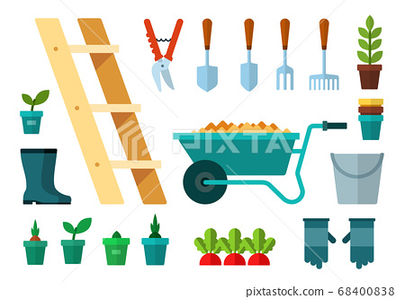 Set of Garbage and Garden icons flat vector 68400838