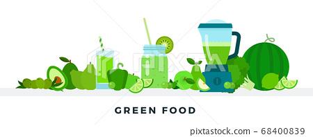 Green food vector flat illustrations. Full of vitamins healthy eating concept. 68400839