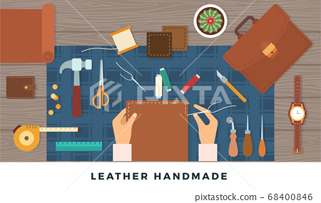Workplace for handmade leather goods. Vector flat illustration. Table with tools and repairman hands 68400846