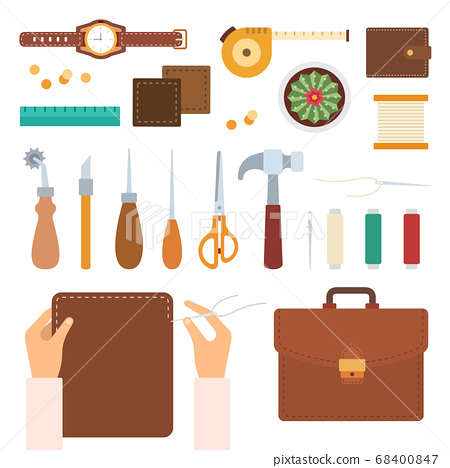 Set of handmade with leather icons flat vector 68400847