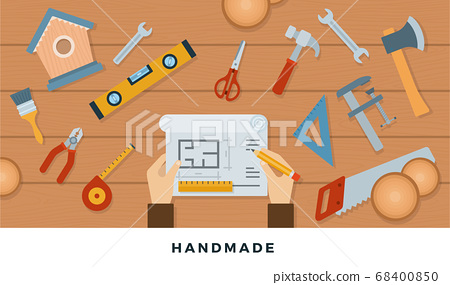 Tools for handmade with wood. Vector flat illustrations. Equipment for handmade with wood. 68400850