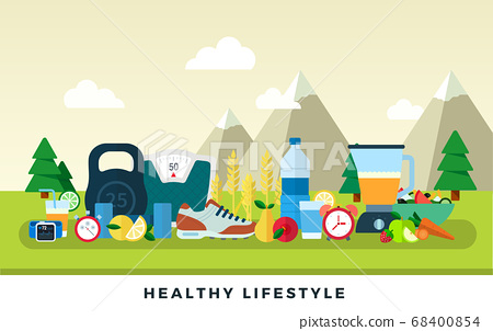 Healthy lifestyle vector flat illustration. Sport, fitness and useful food. 68400854