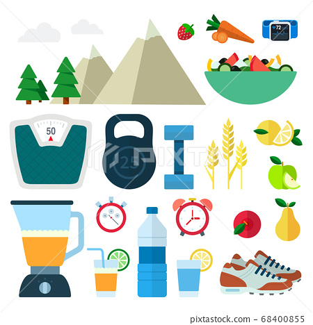 Set of Healthy Food icons flat vector illustration 68400855