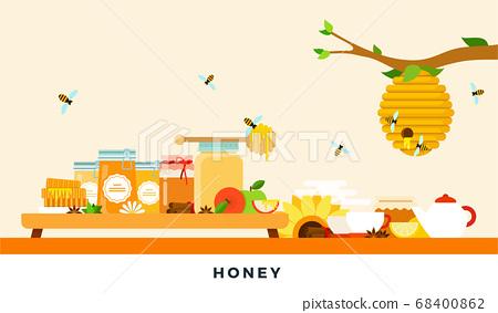 Honey products vector flat illustrations. Organic and natural honey. 68400862