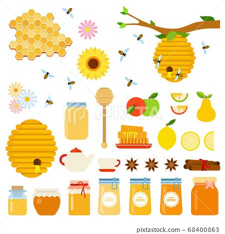 Set of Honey and Honeybee icons flat vector 68400863