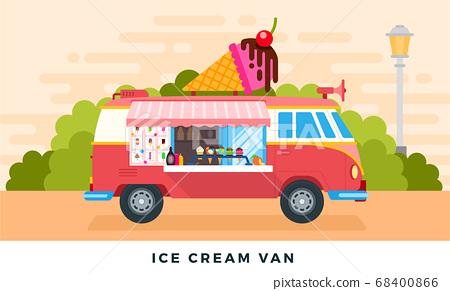 Ice cream van on urban street or in park. Vector flat illustrations. Ice cream truck. Side view. 68400866