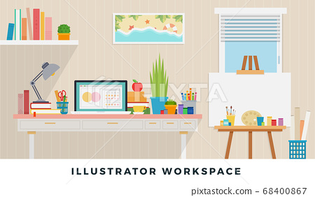 Illustrator workspace. Vector flat illustrators. Workplace of designer with devices for work. 68400867