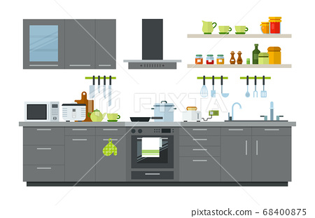 Illustration of a kitchen interior with furniture, appliances and utensils vector illustration 68400875