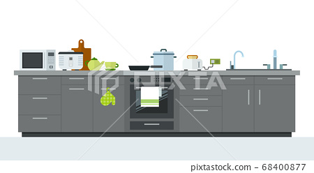Kitchen with gray furniture, utensils and appliances. Vector flat illustrations. 68400877