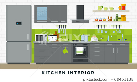 Kitchen interior with furniture, utensils and appliances. Vector flat illustrations. 68401139