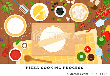 Pizza cooking process. Vector flat illustrations. Set of products and tools for pizza cooking on wooden table. 68401157