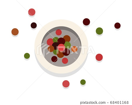 Jar with colorful spices, top view flat icon vector isolated 68401168