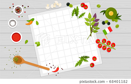 Place with ingredients and tools for cooking Italian pizza. Vector flat illustrations. 68401182