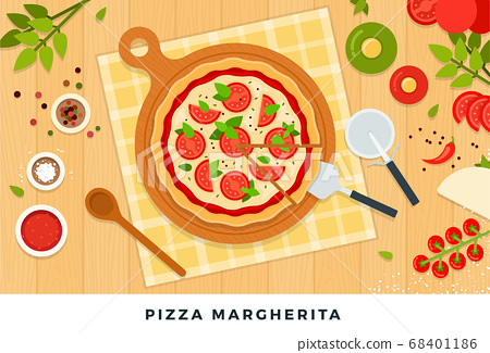 Pizza margherita with mozzarella, tomatoes and ingredients for its preparation. Vector flat illustrations. 68401186