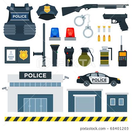 Set of Police Tools flat vector illustration. 68401203