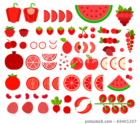 Set of Red Products icons flat vector 68401207