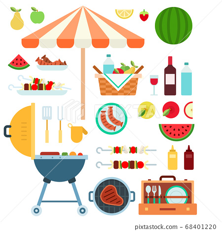Summer Barbecue, Grill flat vector illustration. 68401220