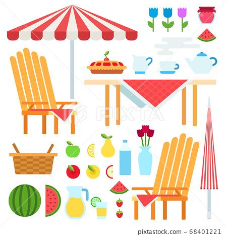Set of Summer Picnic flat vector illustration. 68401221