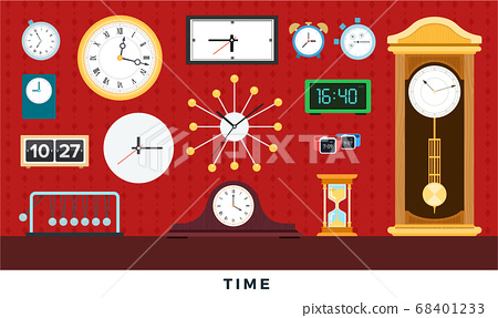 Different clocks from antiques to modern on wall and table. Vector flat illustrations. 68401233