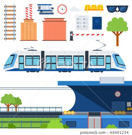 Set of Metro, Railway platform and Tram flat vector illustration. 68401234