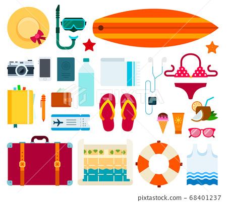 Set of Sea Travel flat vector illustration. 68401237
