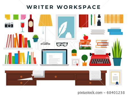 Writer working place, set of flat style elements. Writer cabinet interior details. Vector illustration. 68401238