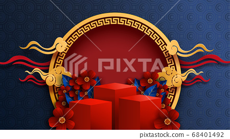 Mid Autumn Festival in paper art style.Chinese new year and red podium background vector illustration. 68401492