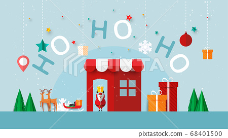 Merry christmas and happy new year.Winter online store or mobile application sale banner template background paper cut style. 68401500