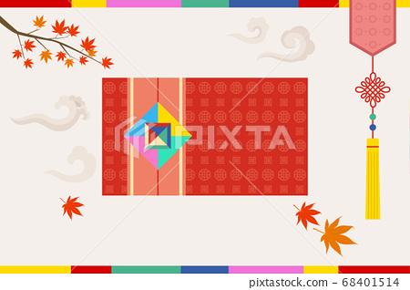 韓國傳統對象矢量插圖紅色信封 68401514