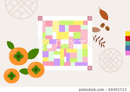 Korean traditional objects vector illustration-Jogakbo and persimmon 68401515