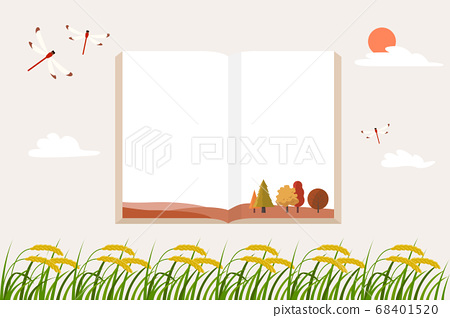 水稻和一本書的秋天插圖耳朵 68401520