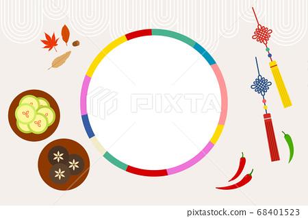 한국 전통 오브젝트 벡터 일러스트 - 색동 테두리, 전통음식, 노리개 68401523