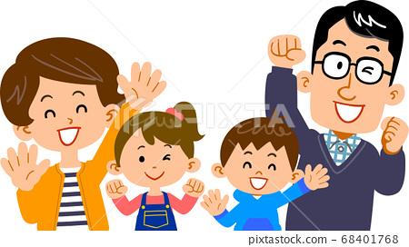 건강하고 사이가 좋은 네 명의 가족 68401768