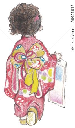 Shichigosan Rear view of a girl wearing a red kimono 68401818