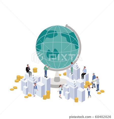 工作人員地球儀和商務人士插畫等距 68402026