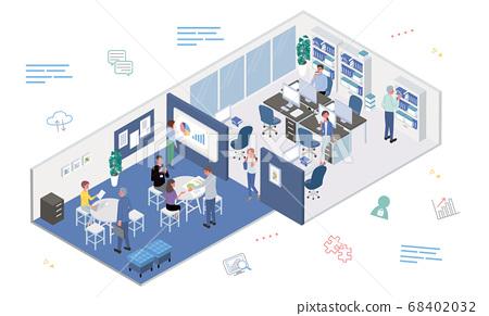 在辦公室里工作的人會議桌工作圖等距 68402032