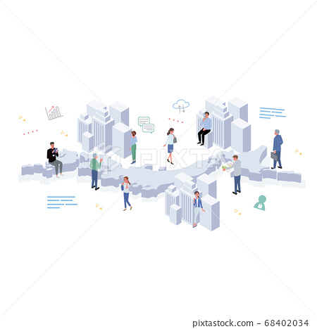 People working in Japan Building, icons and people illustration isometric 68402034